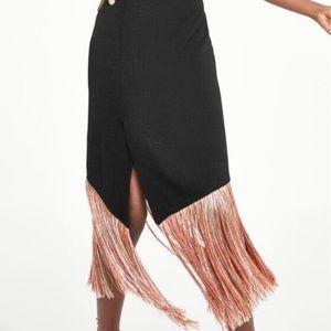 NEW Zara Black Knit Skirt W/ Contrasting Fringe L
